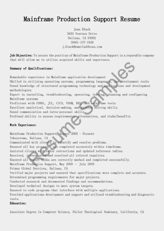 Mainframe Production Support Resume Sample | resume samples ...