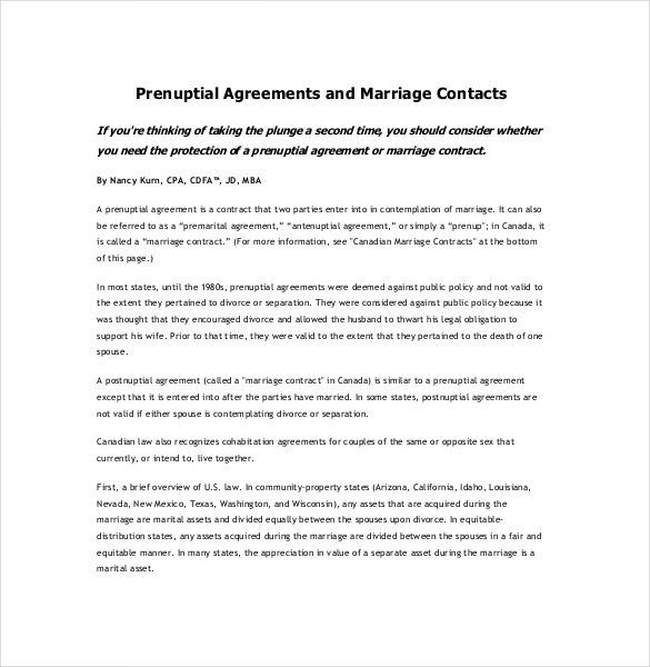 10+ Prenuptial Agreement Templates – Free Sample, Example, Format ...