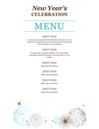 Restaurant menu - Office Templates