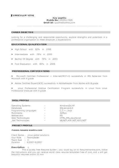 resume format for freshers curriculum vitae pratik tiwari house ...