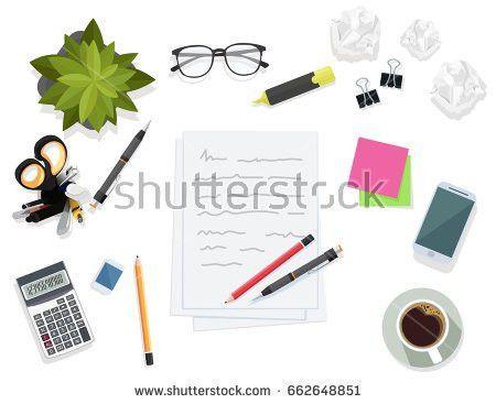 Writing On Paper Sheet Desktop Writing Stock Vector 662648827 ...