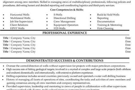 Directional Driller Resume Templates - Reentrycorps
