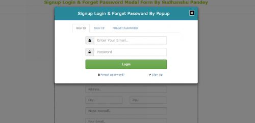 Signup Login And Forget Password Modal Form Template | Free source ...