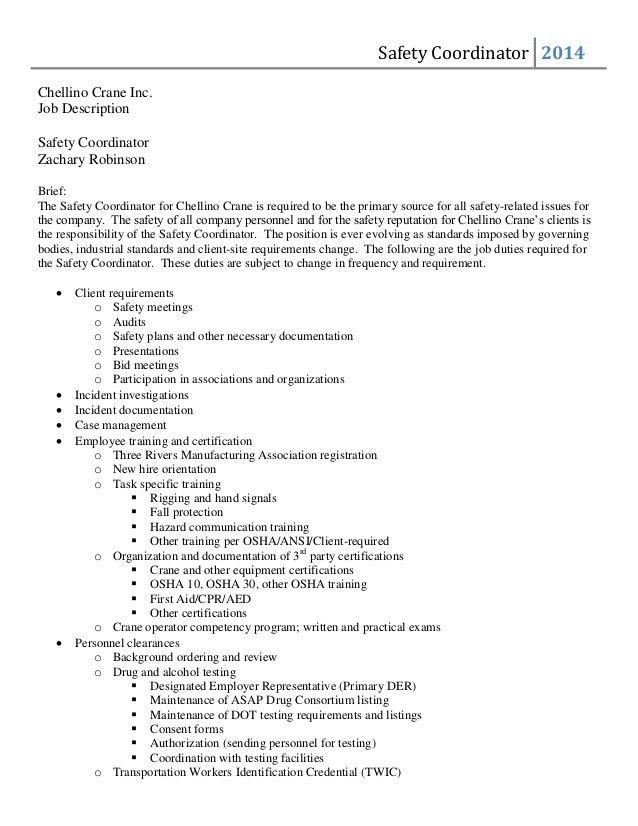 Safety Coordinator Job Description