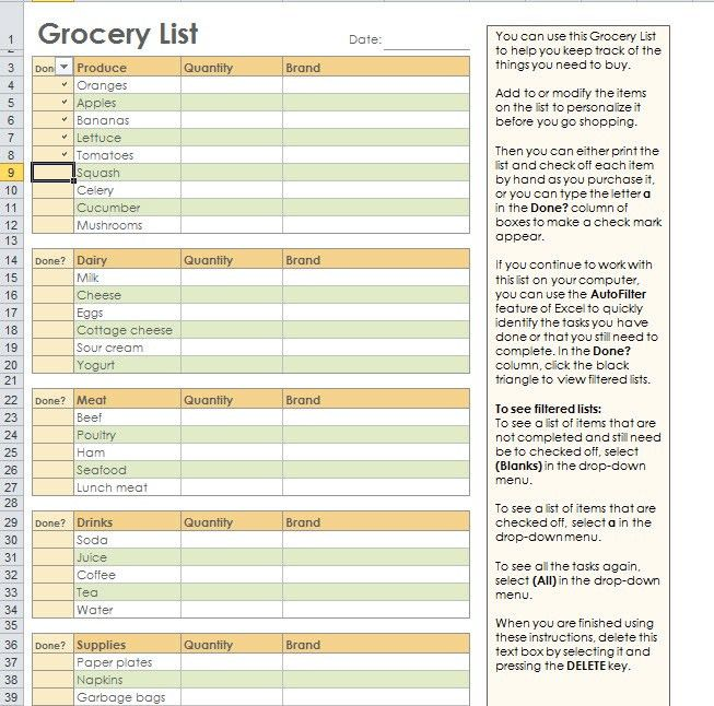 Grocery Shopping List Template For Excel