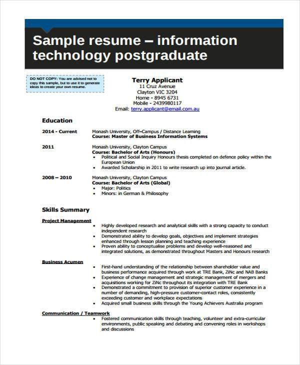 8+ Information Technology Resumes - Free Sample, Example Format ...