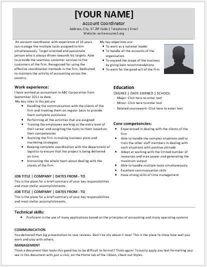 national account coordinator resume account coordinator resume