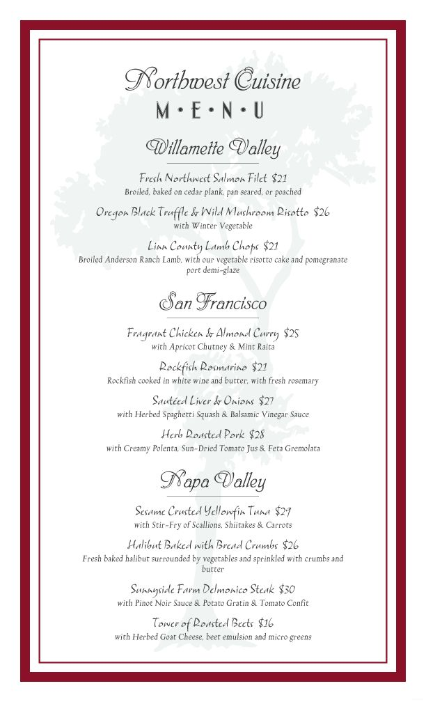 formal dinner menu template