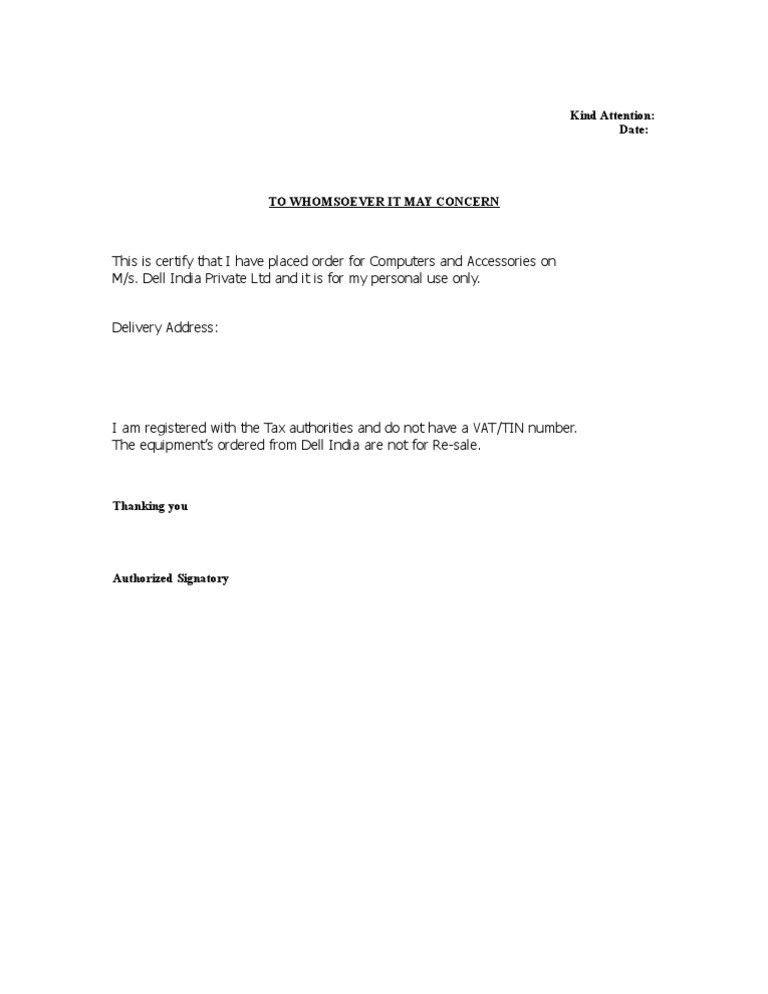 declaration letter template