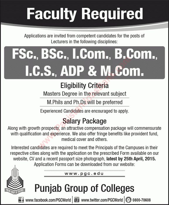 Punjab Group of Colleges Jobs 2015 April Teaching Faculty PGC ...