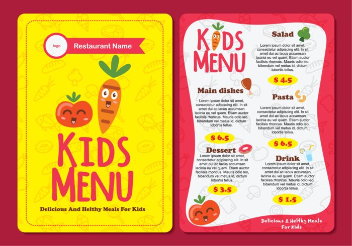 Cute Colorful Kids Menu Template - Download Free Vector Art, Stock ...