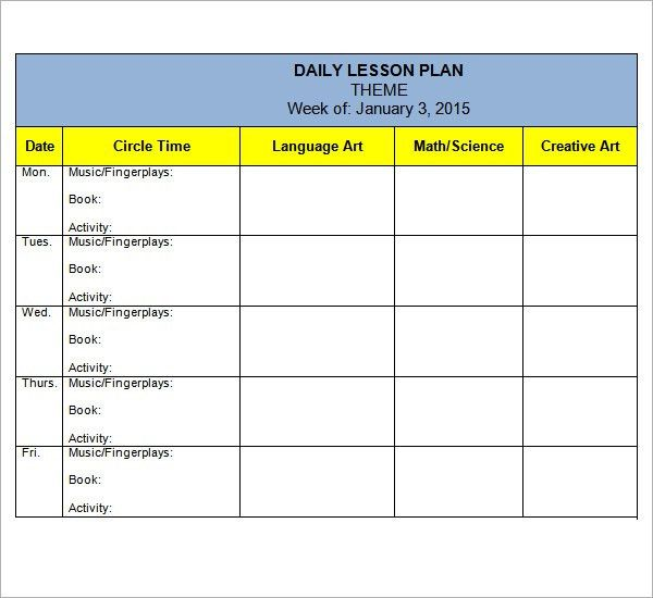 Preschool Lesson Plan Template - 7+ Download Free Documents in PDF ...