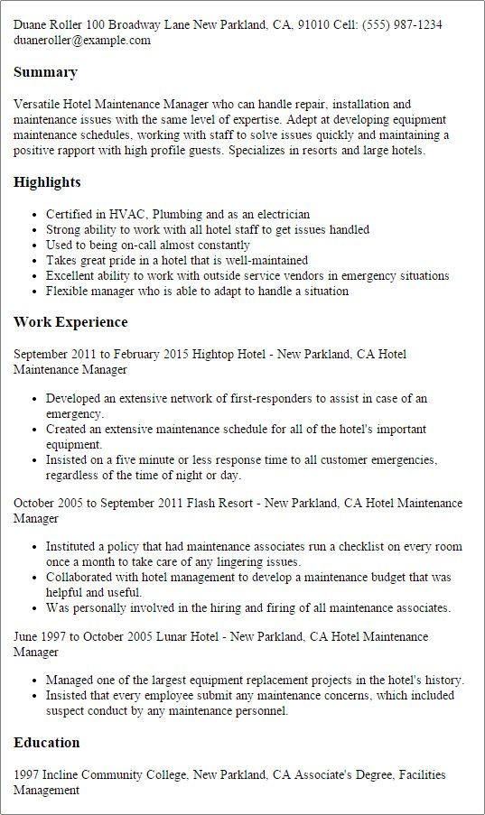 Peachy Design Maintenance Manager Resume 5 Maintenance Manager ...