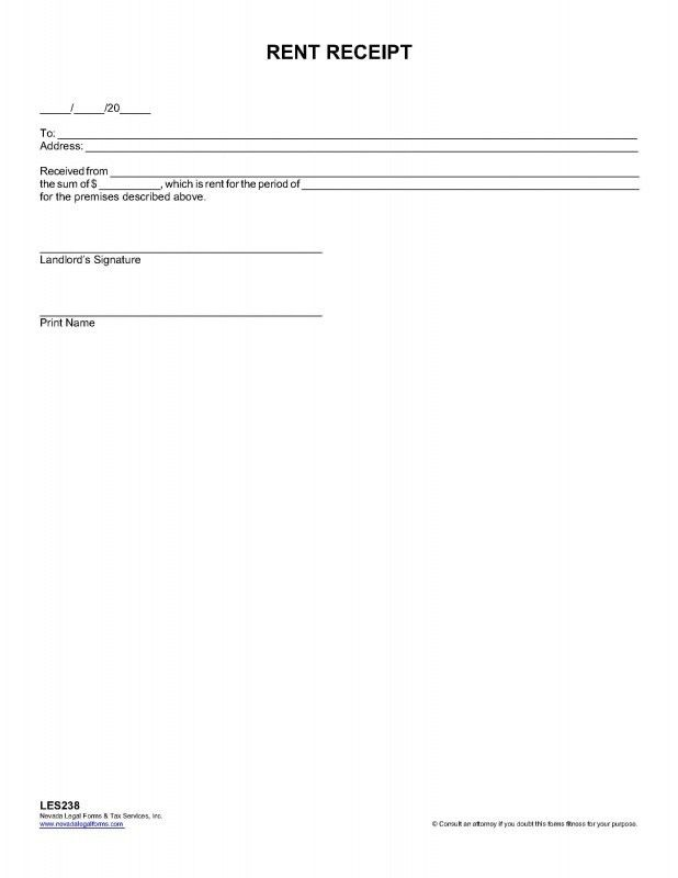 RENT RECEIPT - Nevada Legal Forms & Tax Services Inc.