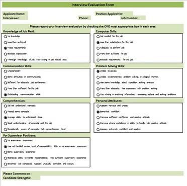 Interview Evaluation Form