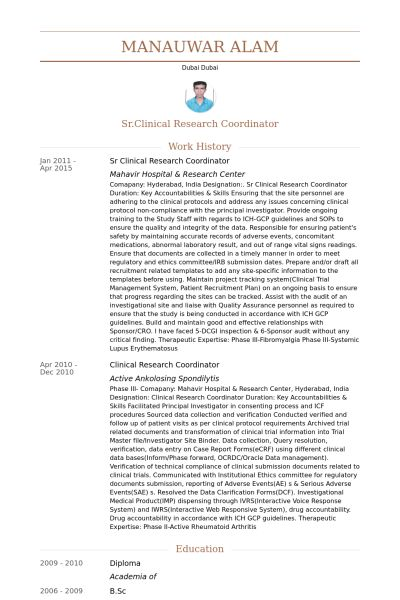 Clinical Research Coordinator Resume samples - VisualCV resume ...