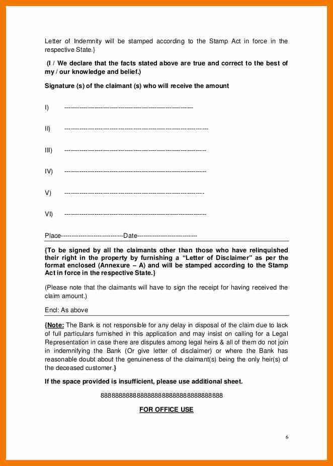 Indemnity Letter Template - Fiveoutsiders - indemnity letter template