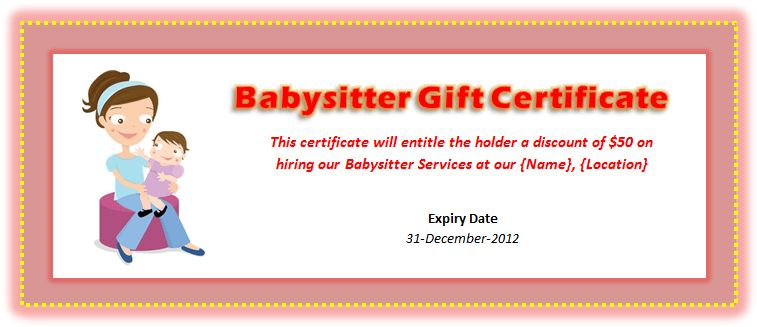 Babysitting Voucher Template | Microsoft Word Templates