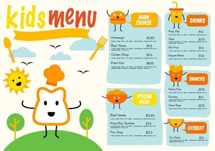 free template kids menu vector download free vector art stock