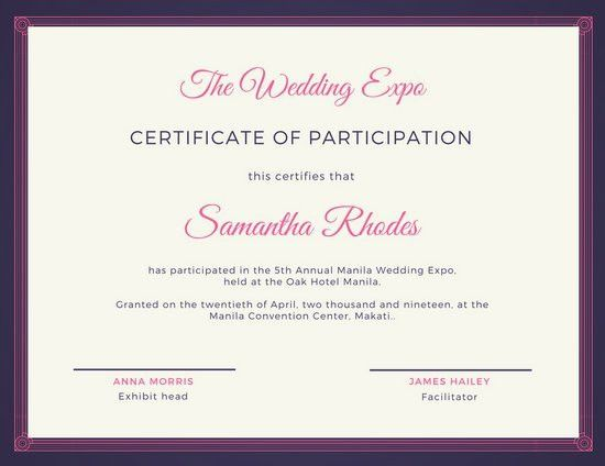 Pink and Blue Fancy Certificate of Participation - Templates by Canva
