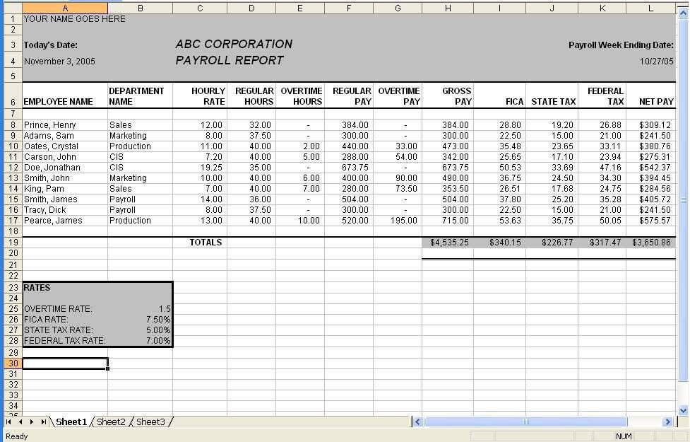 Assignment a6 -- Microsoft Excel Payroll Spreadsheet