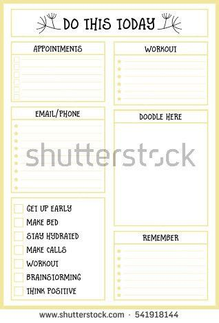 Clean Style Daily Planner Vector Template Stock Vector 541918159 ...