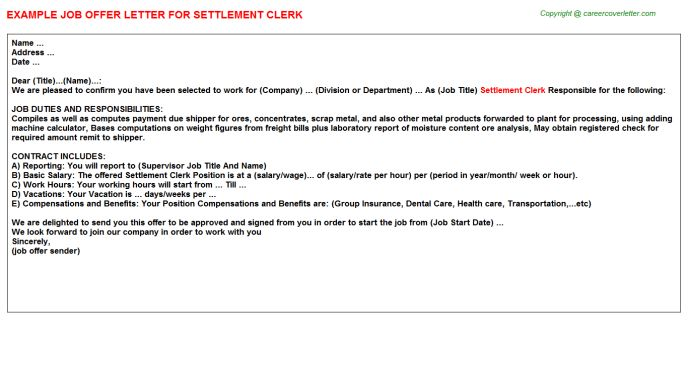 Settlement Clerk Offer Letter