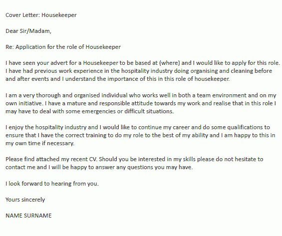 Housekeeper Cover Letter Example - icover.org.uk