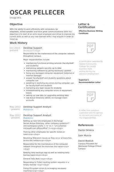desktop support resume format download desktop support technician