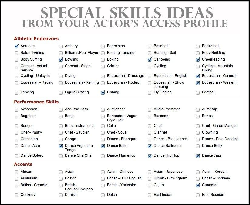 acting resume special skills examples actor resume special skills