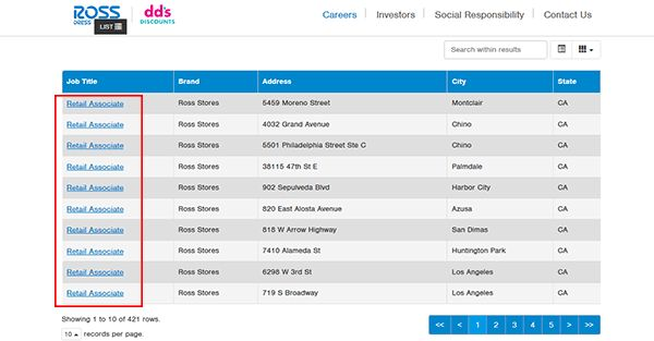 Ross Job Application - Apply Online