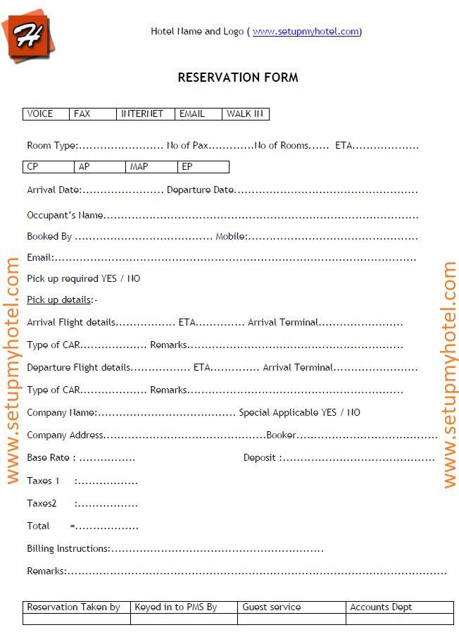 Hotel Reservation Enquiry Form Sample