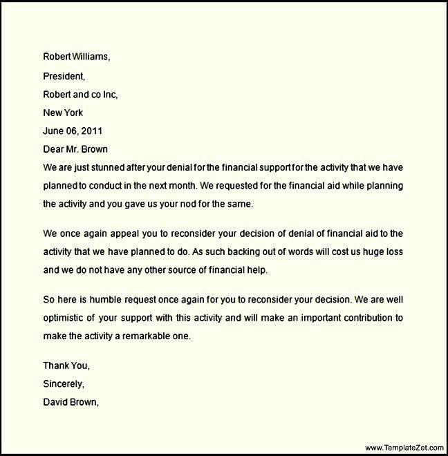 Financial Aid Appeal Letter Sample | TemplateZet