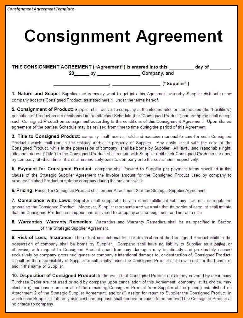10+ consignment agreement form | article examples