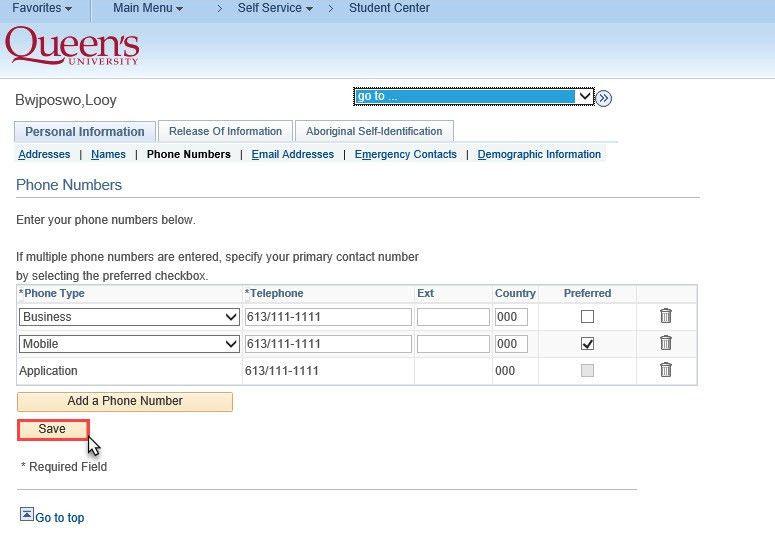 Managing Personal Information | University Registrar