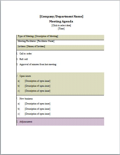 Professional Agenda Templates for MS Word | Document Templates