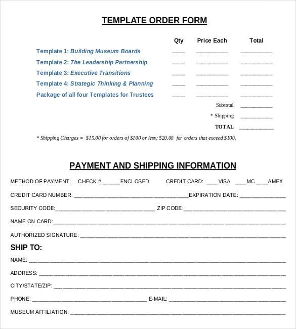 11+ Order Form Templates – Free Sample, Example, Format Download ...