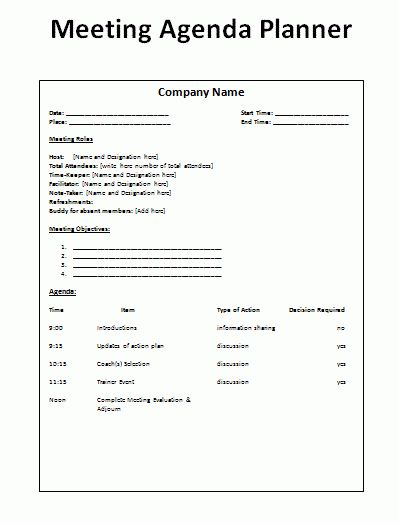 Weekly Family Meeting Agenda Planner And Template Sample : Vlcpeque