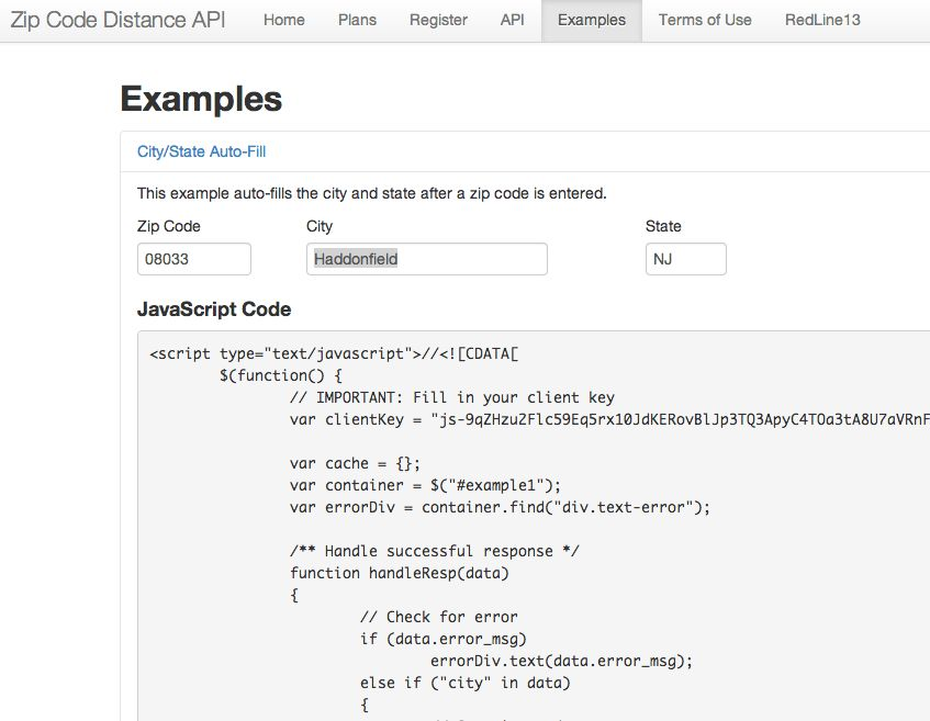 Client Javascript Example for Zipcode auto-filling City and State ...