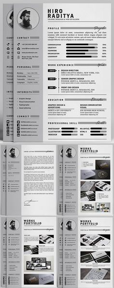Adorable editable floral 2-page resume template in .psd format and ...
