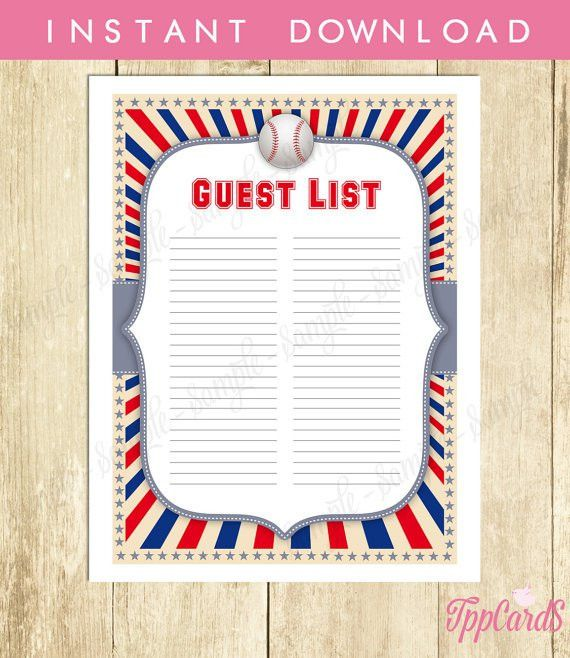 Instant Download Baseball Guest List Printable Baseball Baby ...