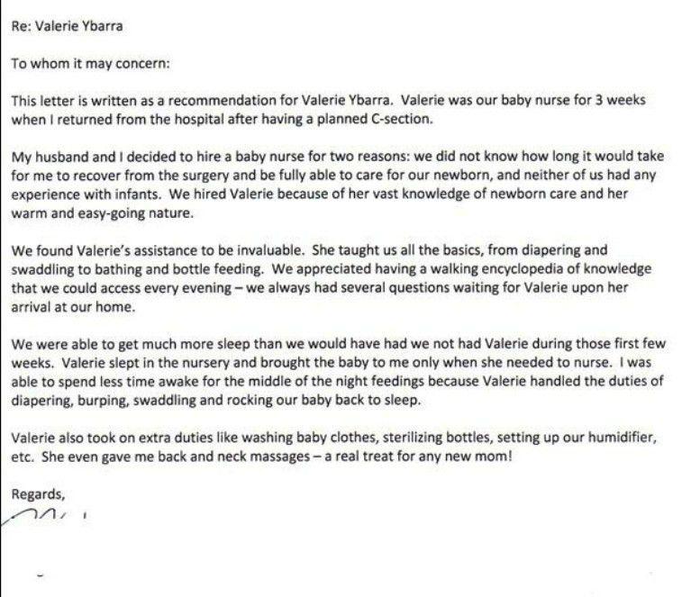 sample babysitter reference letter template templatezet - Recommendation Letter For Babysitter