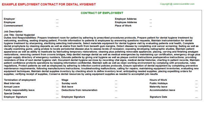 Dental Hygienist Employment Contract
