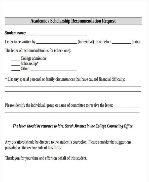 Scholarship Reference Letter Templates- 5+ Free Word, PDF Format ...
