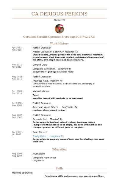 Exclusive Ideas Forklift Resume 15 Forklift Operator Resume ...