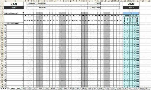 Attendance Sheets 2013