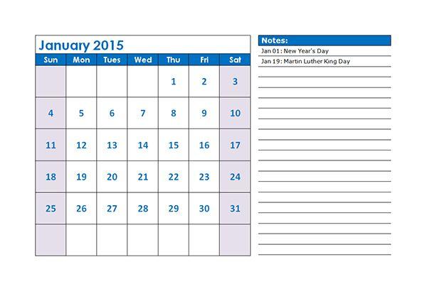 2015 Monthly Calendar - Free Printable Templates