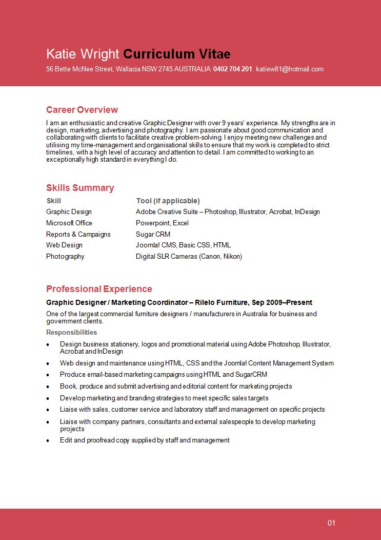 Sample Graphic Design Resume - Page 1 | resume files | Pinterest ...