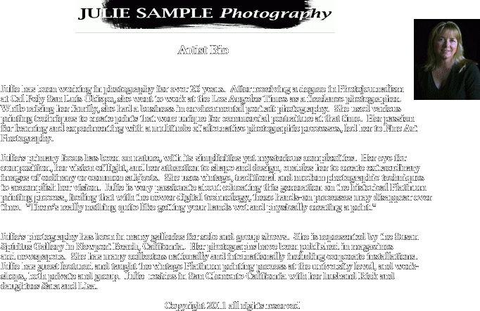 6+ artist biography example | intern resume