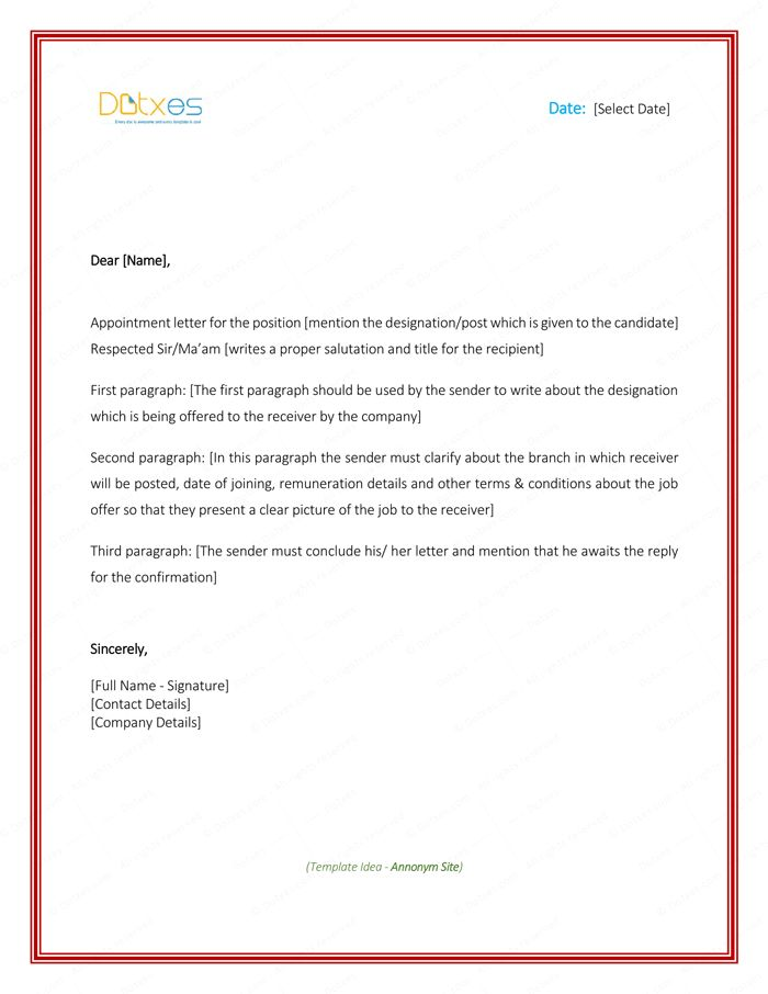 Appointment Letter Sample in Word Format | Letter Templates ...